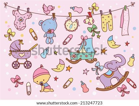 Baby Doodle - stock vector