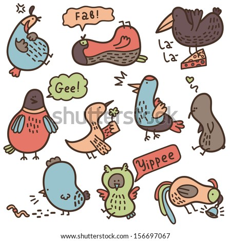 baby doodle birds. Vector set of baby doodle birds with some their habits. - stock vector