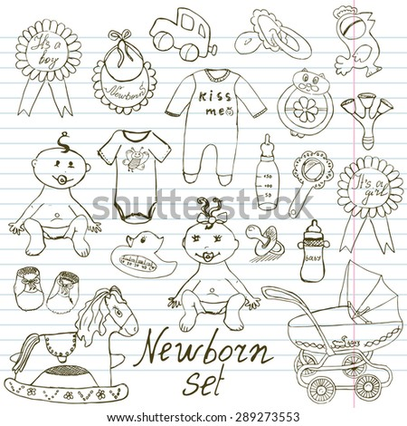 Baby doodle icons, toys, teddy, pram, duckling, cradle, hand drawn sketch vector illustration. on paper notebook background - stock vector