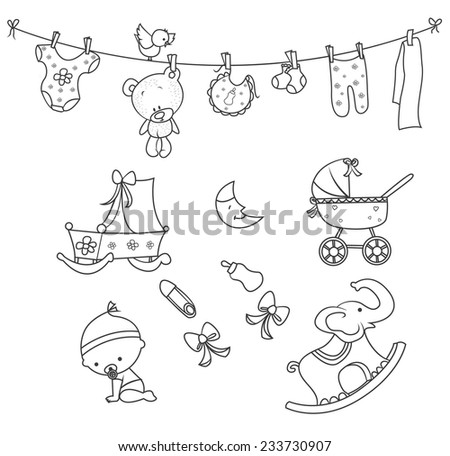 Baby Doodle Object Hand Drawn Sketch Doodle - stock vector