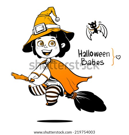Baby Dressed in a Halloween Witch Costume. Little girl flying on a broom - stock vector