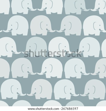 baby elephants blue seamless pattern - stock vector
