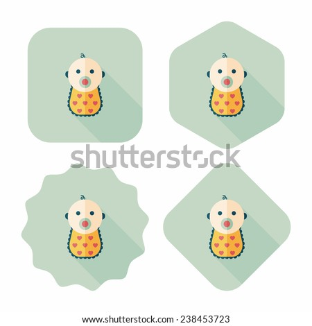baby flat icon with long shadow, eps 10 - stock vector