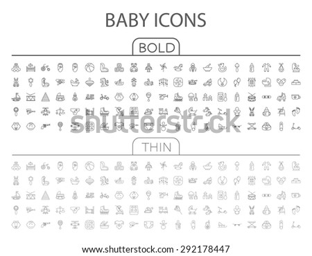 Baby flat vector related icon set for web and mobile applications. It can be used as - logo, pictogram, icon, infographic element. Vector Illustration.  - stock vector