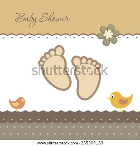 baby foot card with flower & birds - stock vector