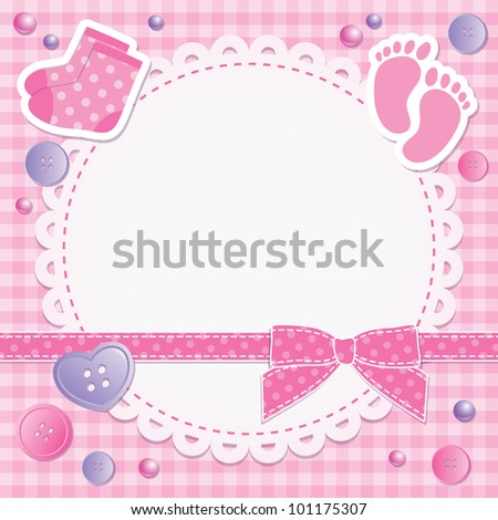 baby frame with pink bow and stickers - stock vector