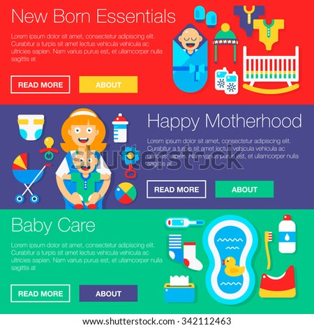 Baby gear essentials vector banners for new born parents. Vector illustration and icons.  - stock vector