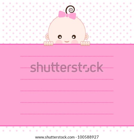Baby girl  announcement card. Vector illustration. - stock vector