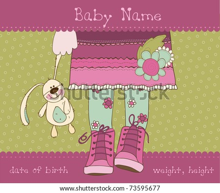 Baby girl arrival announcement card with plush rabbit - stock vector
