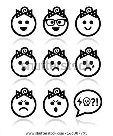 Baby girl faces, avatar vector icons set  - stock vector
