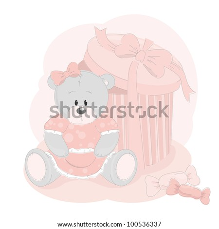 Baby girl greeting card with teddy bear - stock vector