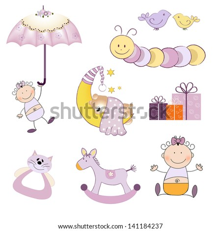 baby girl items set isolated on white background, vector illustration - stock vector