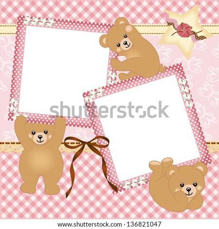 Baby girl photo frame with teddy bear - stock vector
