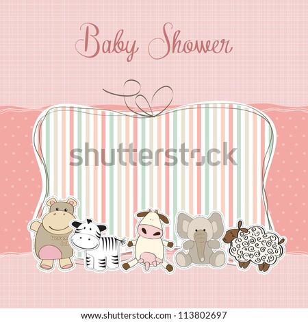 baby girl shower card - stock vector