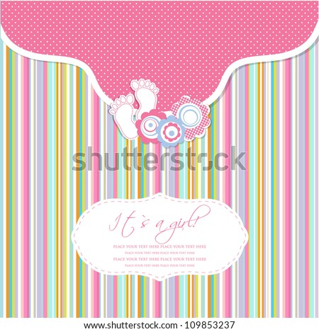 Baby girl shower card with foot steps and frame for your text - stock vector