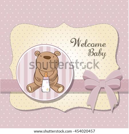 baby girl shower card with teddy bear, vector eps10 - stock vector