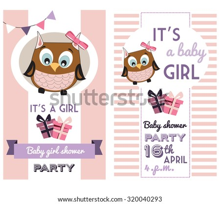 baby girl shower invitation card template with cute owl - stock vector