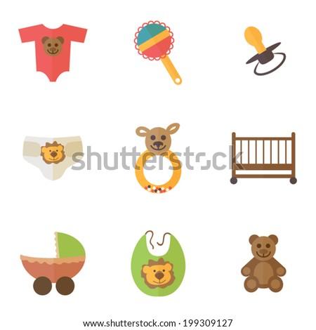 Baby goods, baby shower icons set, flat design vector - stock vector