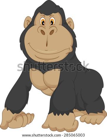 baby gorilla cartoon - stock vector