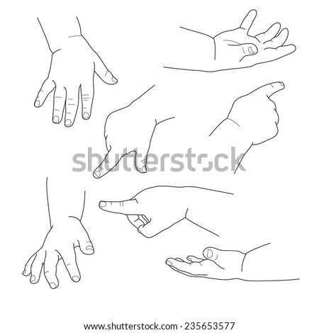 Baby hand, different gestures, vector illustration - stock vector