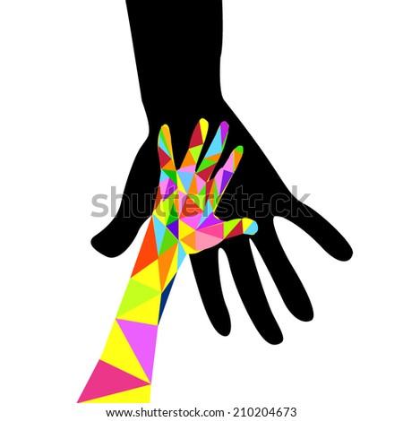 baby hand in adult hand. Vector - stock vector