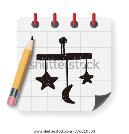 baby hanging doodle drawing - stock vector