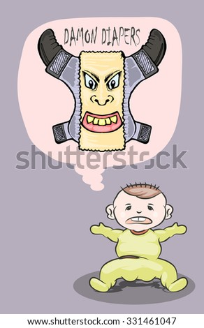 baby hate diapers cartoon illustration isolated - stock vector
