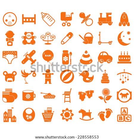Baby icon set - stock vector