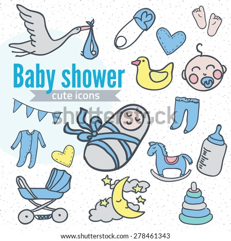 Baby icon set, vector illustration hand drawn in doodles - stock vector