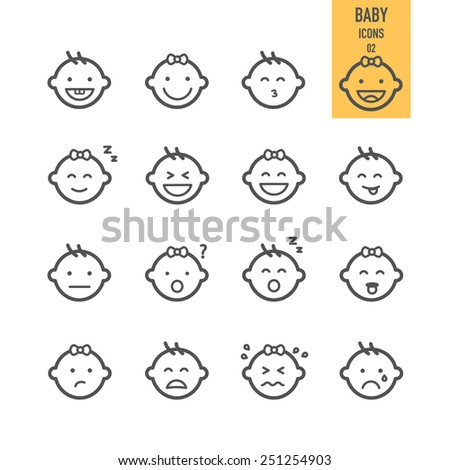 Baby icons. Emotional baby. Vector illustration. - stock vector