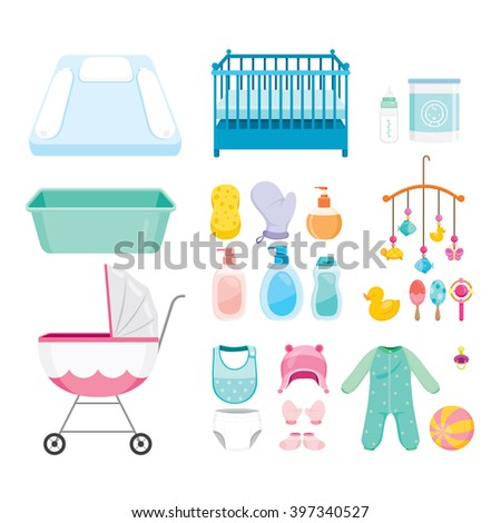 Baby Icons Set, Accessories, Objects, Infant - stock vector