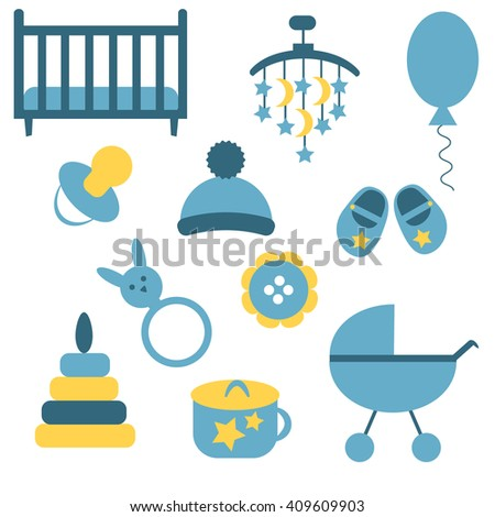 Baby icons set. Colorful vector illustration. Flat design. Icons collection for baby boy: toy, hat, buggy, ball, potty, shoes, button, pyramid, soother, bed.  - stock vector