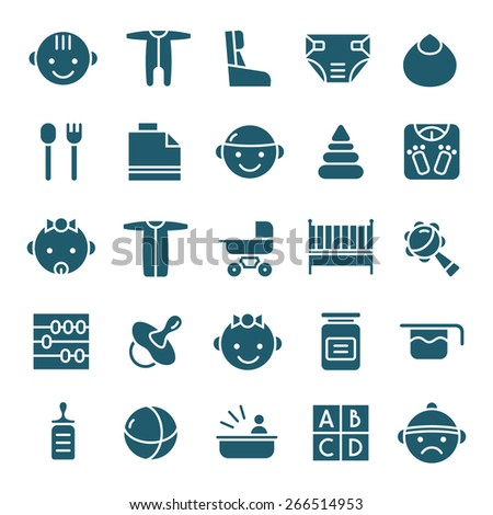 Baby icons set in flat style. Dark blue print on white background - stock vector