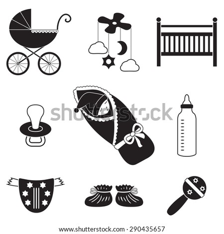 Baby icons set. Newborn, child toys, pram, carriage, soother, cradle. Vector illustration. - stock vector