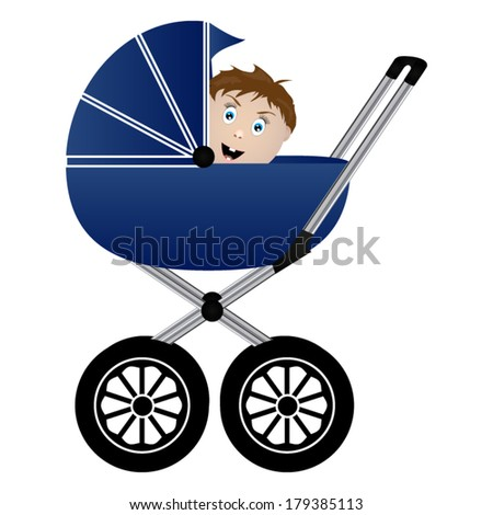 baby in a pram  - stock vector