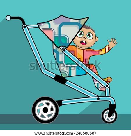 Baby in a stroller vector cartoon - stock vector