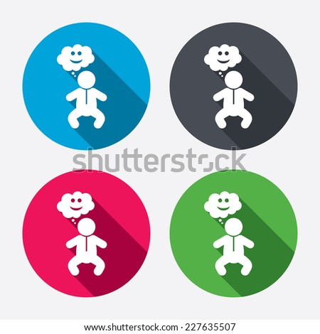 Baby infant happy think sign icon. Toddler boy in pajamas or crawlers body symbol. Circle buttons with long shadow. 4 icons set. Vector - stock vector