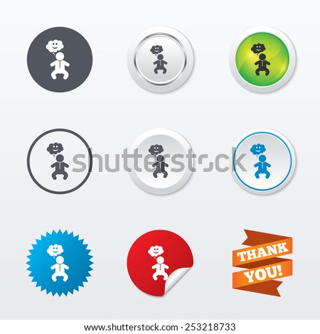 Baby infant happy think sign icon. Toddler boy in pajamas or crawlers body symbol. Circle concept buttons. Metal edging. Star and label sticker. Vector - stock vector