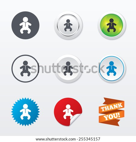 Baby infant sign icon. Toddler boy in pajamas or crawlers body symbol. Child WC toilet. Circle concept buttons. Metal edging. Star and label sticker. Vector - stock vector