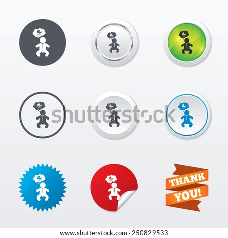 Baby infant think about buggy sign icon. Toddler boy in pajamas or crawlers body symbol. Circle concept buttons. Metal edging. Star and label sticker. Vector - stock vector