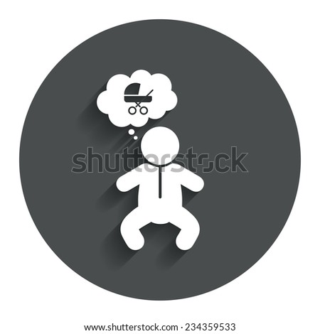 Baby infant think about buggy sign icon. Toddler boy in pajamas or crawlers body symbol. Gray flat button with shadow. Modern UI website navigation. Vector - stock vector