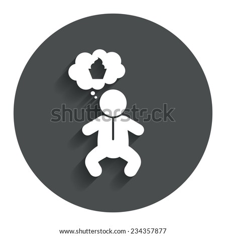 Baby infant think about food sign icon. Toddler boy in pajamas or crawlers body symbol. Gray flat button with shadow. Modern UI website navigation. Vector - stock vector
