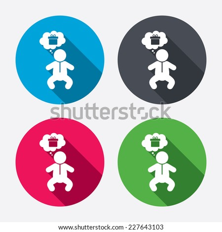 Baby infant think about gift box sign icon. Toddler boy in pajamas or crawlers body symbol. Circle buttons with long shadow. 4 icons set. Vector - stock vector