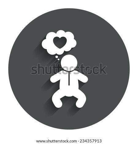 Baby infant think about love sign icon. Toddler boy in pajamas or crawlers body symbol. Gray flat button with shadow. Modern UI website navigation. Vector - stock vector