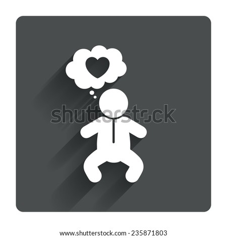 Baby infant think about love sign icon. Toddler boy in pajamas or crawlers body symbol. Gray flat square button with shadow. Modern UI website navigation. Vector - stock vector