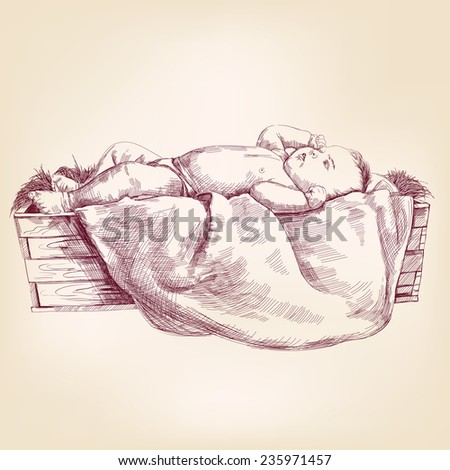 Baby Jesus in the  manger hand drawn vector llustration realistic sketch - stock vector