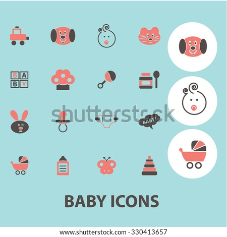baby, kids, toys concept icons, symbols on background, vector - stock vector