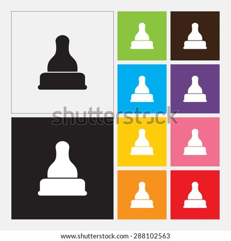Baby latex nipple for baby and kid icon - Vector - stock vector