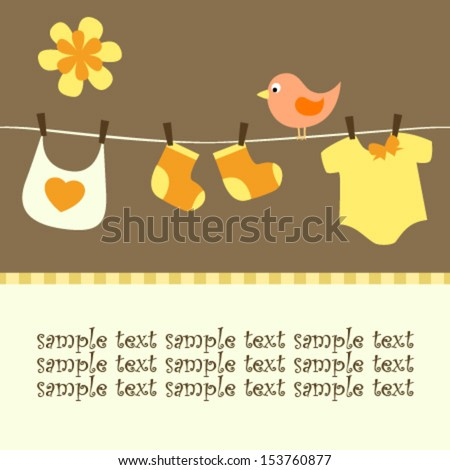 baby line and bird happy card - stock vector