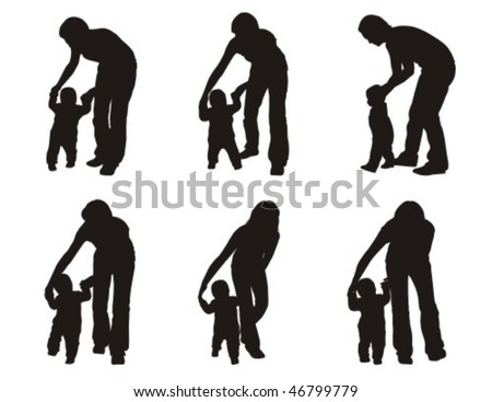 Baby making first steps with the help of his parent. - stock vector